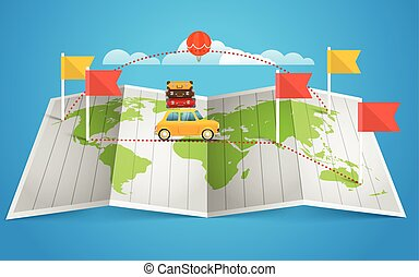 térkép, alapismeretek, lobogó, tervezés, vehicle., világ, piros