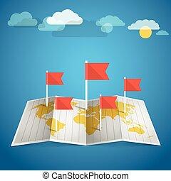 térkép, alapismeretek, tervezés, világ, flags., piros