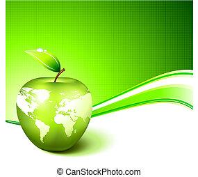 térkép, alma, földgolyó, zöld háttér, világ, elvont
