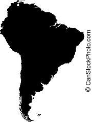 térkép, amerika, fekete, déli