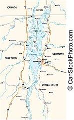 térkép, amerikai, champlain, egyesült államok, vektor, tó, kanada, észak, egyesült
