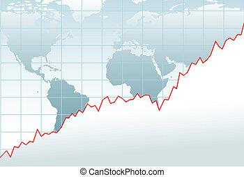 térkép, anyagi, globális, diagram, növekedés, gazdaság