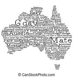 térkép, ausztrália, format., vektor, szavak, ausztrál, elkészített, szleng