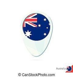 térkép, ausztrália, gombostű, háttér., lobogó, elhelyezés, fehér, ikon