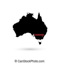 térkép, ausztrália, kijelölés, háttér., főváros, fehér