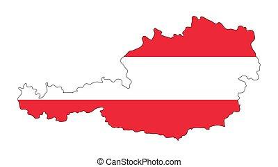 térkép, ausztria, elszigetelt, lobogó, tervezés, háttér, fehér