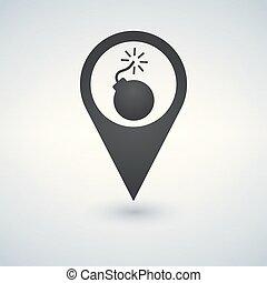 térkép, bombáz, illustration., vektor, ikon, mutató
