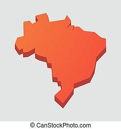 térkép, brazília, piros