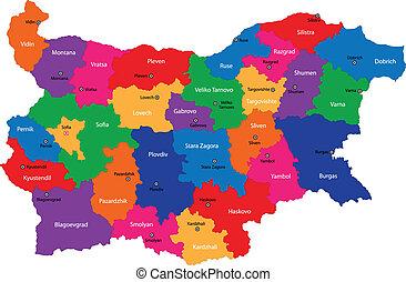 térkép, bulgária