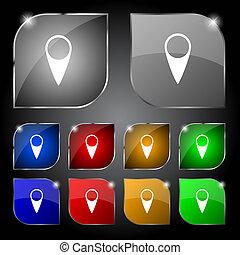 térkép, buttons., állhatatos, mutató, jelkép., vektor, elhelyezés, icon., színpompás, gps