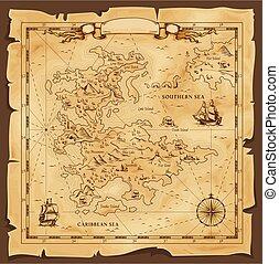 térkép, caribbean, öreg, tenger, vektor, kopott, pergament
