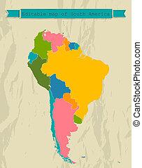 térkép, countries., minden, amerika, déli, editable