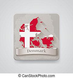 térkép, dánia, ábra, vektor, flag., ikon