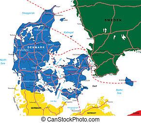 térkép, dánia