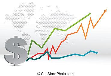 térkép, előre lát, dollár, ábra