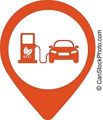 térkép, elektromos autó, -, ábra, vektor, ikon