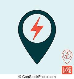 térkép, elektromos, gombostű, autó, állomás, megterhelés, ikon