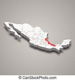 térkép, elhelyezés, 3, mexikó, belül, vidék, veracruz