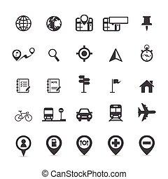 térkép, elhelyezés, ikonok