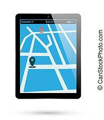 térkép, elhelyezés, tabletta