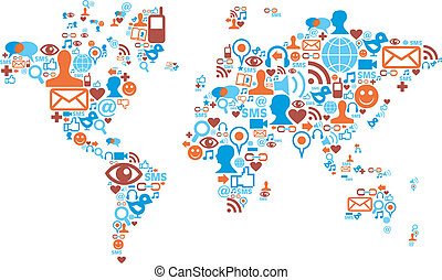 térkép, elkészített, ikonok, média, alakít, társadalmi, világ