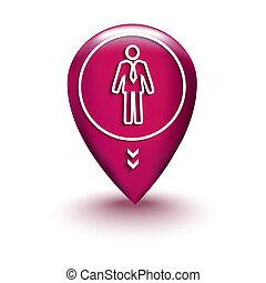 térkép, ember, elhelyezés, ikon