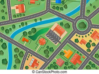 térkép, falu, külváros