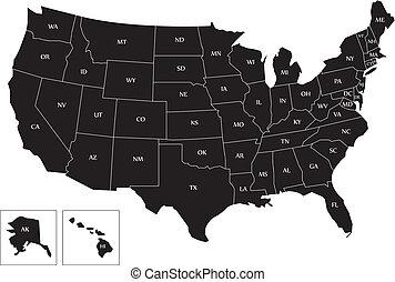 térkép, fekete, usa
