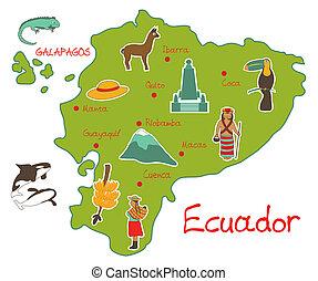 térkép, felvázol, ecuador, jellegzetes