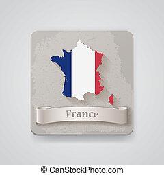 térkép, flag., ábra, franciaország, vektor, ikon