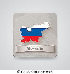 térkép, flag., ábra, slovenia, vektor, ikon
