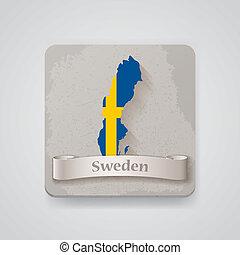 térkép, flag., ábra, svédország, vektor, ikon