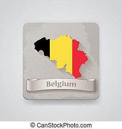 térkép, flag., ábra, vektor, belgium, ikon