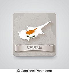 térkép, flag., ábra, vektor, ciprus, ikon