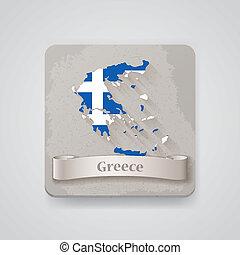 térkép, flag., ábra, vektor, görögország, ikon