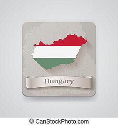térkép, flag., ábra, vektor, magyarország, ikon