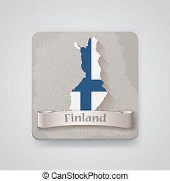 térkép, flag., finnország, ábra, vektor, ikon