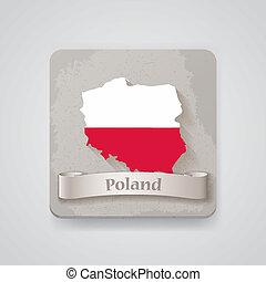térkép, flag., lengyelország, ábra, vektor, ikon