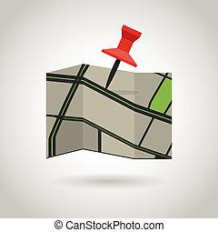 térkép, fogalom, pin., guidence, piros