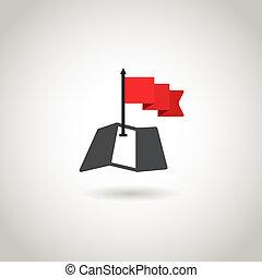 térkép, fogalom, piros, guidence, flag.