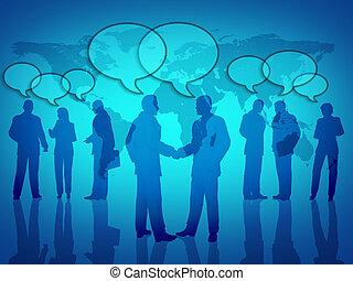térkép, globális, networking, ügy, társadalmi