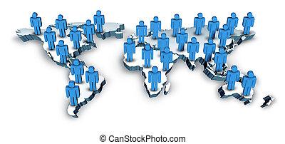 térkép, globális, világ, híradástechnika