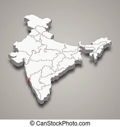 térkép, goa, india, állam, elhelyezés, belül, 3