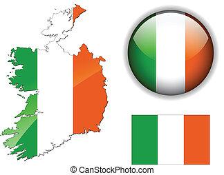 térkép, gombol, lobogó, sima, írország