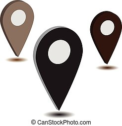 térkép, gps, illustration., lakás, jelkép., elhelyezés, icon., vektor, mutató, design.
