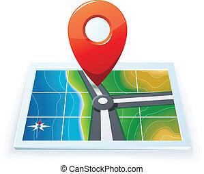 térkép, gps, modern, ikon