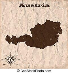 térkép, gyűrött, öreg, paper., ábra, ausztria, vektor, grunge