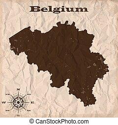 térkép, gyűrött, öreg, paper., ábra, vektor, belgium, grunge