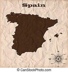 térkép, gyűrött, öreg, paper., ábra, vektor, grunge, spanyolország
