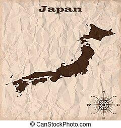 térkép, gyűrött, öreg, paper., ábra, vektor, japán, grunge